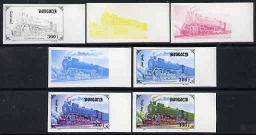 Mongolia 1997 Railway Locomotives 300t FDP Steam Loco Lass the set of 7 imperf progressive proofs comprising the 4 individual colours plus 2, 3 and all 4-colour composites unmounted mint, as SG 2593