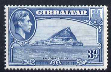 Gibraltar 1938-51 KG6 3d light blue Perf 14 fine mounted mint, SG 125a cat \A3130