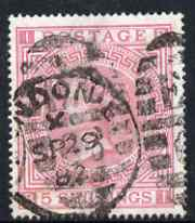 Great Britain 1867-83 QV 5s rose plate 2 good used with full perfs and fairly well centred SG 127 cat \A31,100
