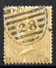 Great Britain 1862-64 QV 9d bistre good colour and perfs sound used SG86 cat \A3450