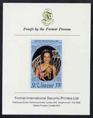St Vincent 1987 10th Anniversary of Carnival 55c (Beauty Queen) imperf proof mounted on Format International proof card as SG SG 1068var