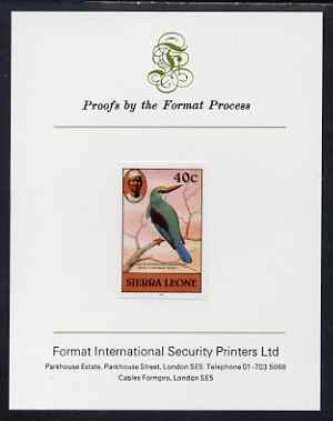 Sierra Leone 1983 Blue Breasted Kingfisher 40c (with 1983 imprint) imperf proof mounted on Format International proof card as SG SG 769