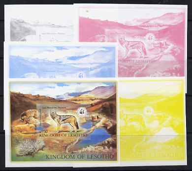 Lesotho 1981 WWF - Jackal Wildlife m/sheet, the set of 5 imperf progressive proofs compriing 4 individual colours (black, magenta, cyan & yellow) plus all 5-colour composite (4 colours plus gold) unmounted mint as SG MS 473