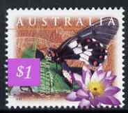 Australia 1997 Big Greasy Butterfly (Cressida cressida) $1 from Fauna & Flora (#02) unmounted mint, SG 1685