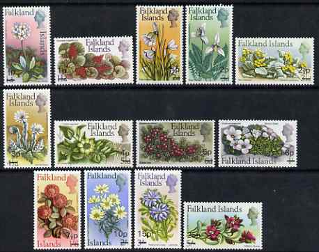 Falkland Islands 1971 Flowers decimal surcharge set of 13 unmounted mint, SG 263-75