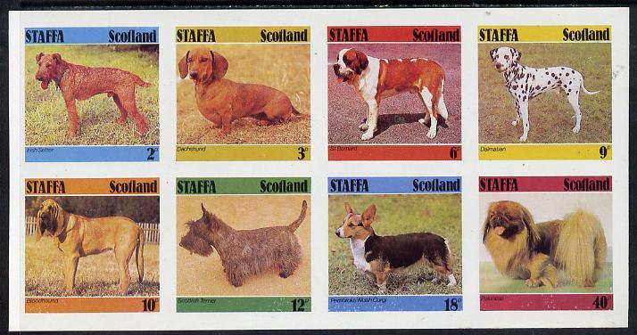 Staffa 1978 Dogs (Irish Setter, Dachshund, St Bernard etc) imperf set of 8 values (2p to 40p) unmounted mint