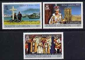 Falkland Islands Dependencies - South Georgia 1977 Silver Jubilee perf set of 3 unmounted mint, SG 50-52