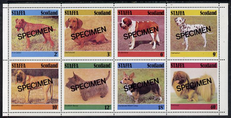 Staffa 1978 Dogs (Irish Setter, Dachshund, St Bernard etc)  perf set of 8 values each opt'd SPECIMEN (2p to 40p) unmounted mint