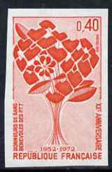 France 1972 20th Anniversary of Post Office Employees Blood Donors Association IMPERF single unmounted mint, as SG 1966 (Yv 1716)