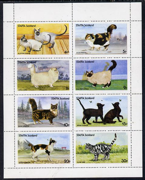 Staffa 1977 Cats (Siamese, Persian, Cameo, etc) perf set of 8 values (4p to 30p) unmounted mint