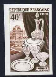 France 1953 Porcelain & Cut-glass 40f (from National Industries set) IMPERF unmounted mint as SG 1168 (Yv 972)