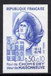 France 1972 Red Cross Fund - Paul de Chomedey (founder of Montreal) IMPERF colour trial in blue unmounted mint,  as SG 1951 (Yv 1706)