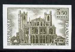 France 1972 St Just Cathedral, Narbonne 3.50f one colour imperf unmounted mint (from Tourist Publicity set), as SG 1961 (Yv 1713)