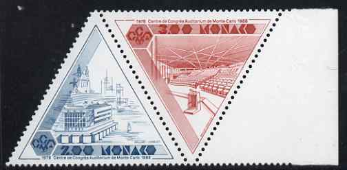 Monaco 1988 Tenth Anniversary of Monte Carlo Congress Centre se-tenant triangular pair unmounted mint, SG 1886a