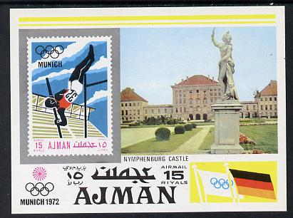 Ajman 1971 Munich Olympics imperf m/sheet (Pole Vaulter, Statue & Nymphenburg Castle) unmounted mint Mi BL 247