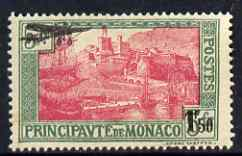 Monaco 1933 Air 1f 50 on 5f surcharge unmounted mint, SG 143