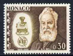 Monaco 1965 Alexander Graham Bell & telephone 30c from ITU Centenary set unmounted mint, SG 824