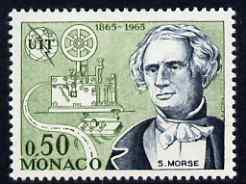 Monaco 1965 Samuel Morse & telegraph 50c from ITU Centenary set unmounted mint, SG 825