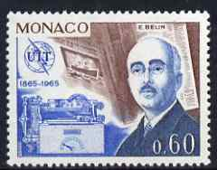 Monaco 1965 E Belin & 'Belinograph' 60c from ITU Centenary set unmounted mint, SG 826