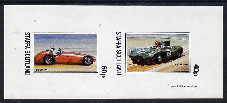 Staffa 1981 Cars #1 ('D' Type Jaguar & Maserati) imperf  set of 2 values (40p & 60p) unmounted mint