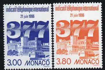 Monaco 1996 Introduction of International Dialling Code 377 set of 2 unmounted mint, SG 2272-73