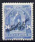 El Salvador 1899 Ceres 24c pale blue overprinted Franqueo Oficial but without wheel overprint, unissued as such, unmounted mint similar to SG O336