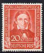 Germany - West 1949 Refugees Relief Fund 20pf+10pf Froebel unmounted mint SG 1041