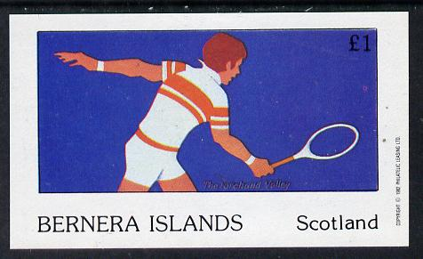Bernera 1982 Tennis imperf souvenir sheet (�1 value) unmounted mint