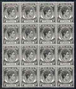 Malaya - Penang 1949-52 KG6 1c black block of 16 (4x4) unmounted mint, SG3