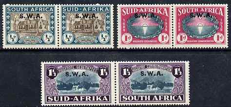South West Africa 1939 250th Anniversary of Huguenots set of 6 (3 horiz pairs) unmounted mint SG111-3