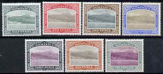 Dominica 1903-07 Roseau Crown CC set to 1s (7 values) mounted mint, SG 27-33
