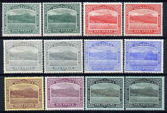Dominica 1908-21 Roseau MCA set to 1s incl shades of 1/2d, 1d, 2d & 2.5d plus 1s ord paper (12 values) mounted mint, SG 47-53a