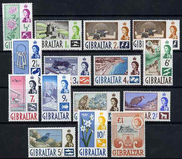 Gibraltar 1960-62 Pictorial definitive set complete 14 values 1/2d to \A31 unmounted mint SG 160-73