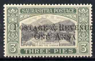 Indian States - Soruth 1950 Surcharged 1a on 3p unmounted mint SG 61