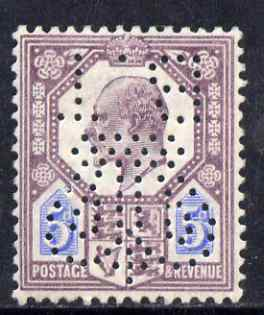 Great Britain 1902 KE7 5d with the rare Board of Trade Perfin (inverted) small area of paper adhesion otherwise unmounted mint