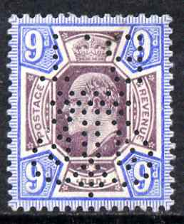 Great Britain 1902 KE7 9d with the rare Board of Trade Perfin (inverted) very lightly mounted mint