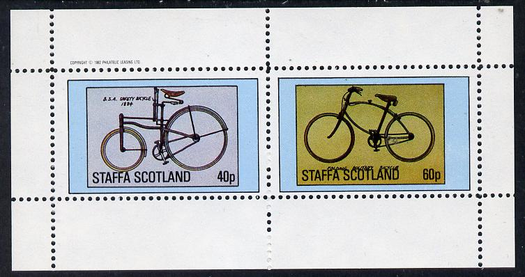 Staffa 1982 Bicycles (BSA Safety & Military Cycle) perf  set of 2 values (40p & 60p) unmounted mint