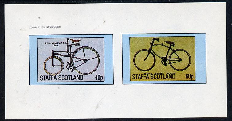 Staffa 1982 Bicycles (BSA Safety & Military Cycle) imperf  set of 2 values (40p & 60p) unmounted mint