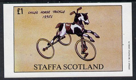 Staffa 1982 Bicycles (Child's Horse Tricycle) imperf souvenir sheet (�1 value) unmounted mint