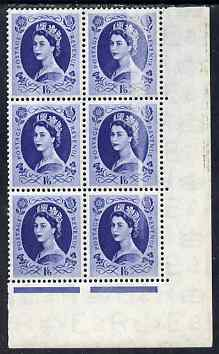 Great Britain 1952-54 Wilding Tudor Crown 1s6d corner block of 6 with 'stripping' flaw affecting 3 stamps, unmounted mint