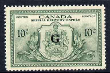 Canada 1950 Official Special Delivery 10c green opt'd G (no gum), SG OS21