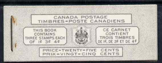 Booklet - Canada 1951 KG6 25c Bilingual booklet complete very fine, SG SB48a cat \A335