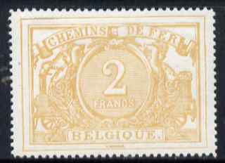 Belgium 1882 Railway Parcels 2f buff fresh mounted mint well centred SG P88