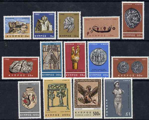 Cyprus 1966-69 Pictorial definitive set 14 values complete 3m to \A31 unmounted mint, SG 283-96