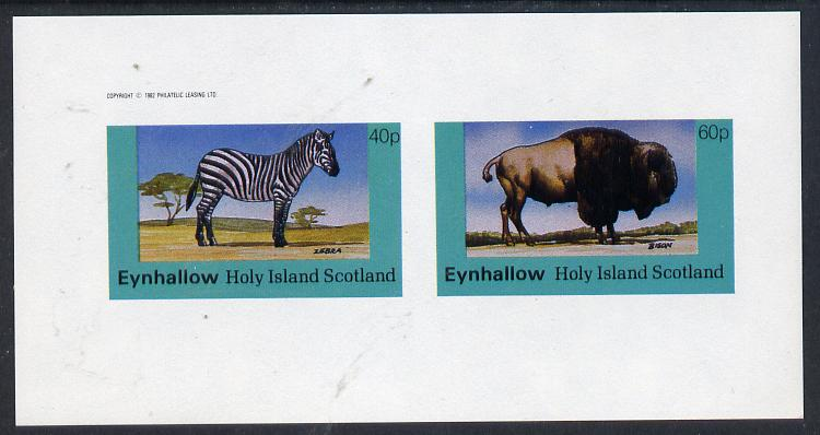 Eynhallow 1982 Animals #06 (Zedbra & Bison) imperf  set of 2 values (40p & 60p) unmounted mint