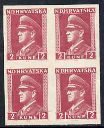 Croatia 1943 Pavelic 2k claret in fine mint imperf block of 4, as SG108