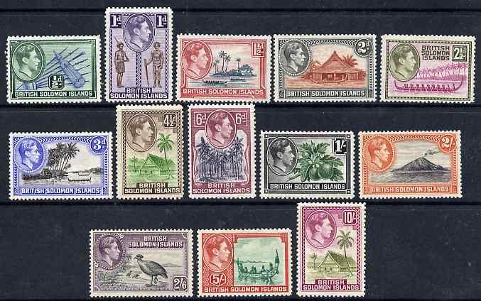Solomon Islands 1939-51 KG6 definitive set complete 13 values mounted mint SG 60-72