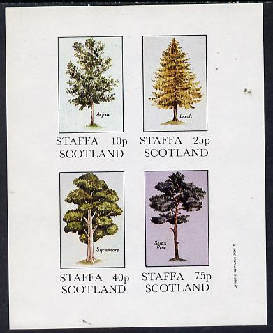 Staffa 1982 Trees (Aspen, Larch, Sycamore & Scots Pine) imperf  set of 4 values (10p to 75p) unmounted mint