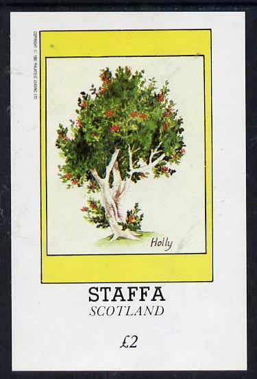 Staffa 1982 Trees (Holly) imperf deluxe sheet (�2 value) unmounted mint