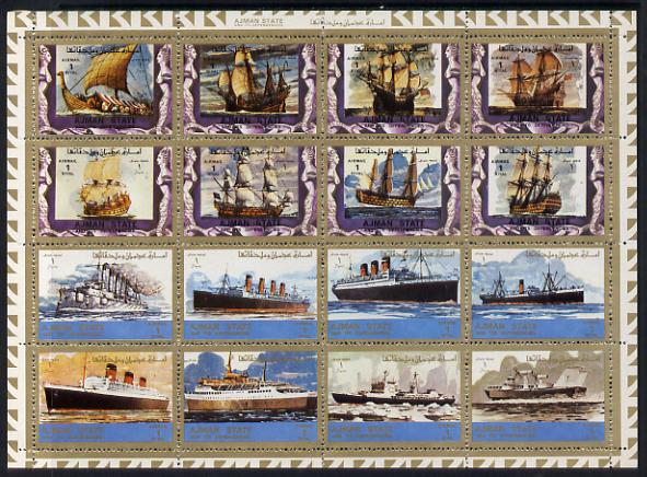Ajman 1972 Ships perf set of 16, Mi 2861-76A unmounted mint